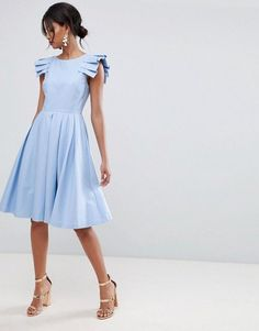 abe132c857a23 Shop Ted Baker Frill Midi Length Dress at ASOS.
