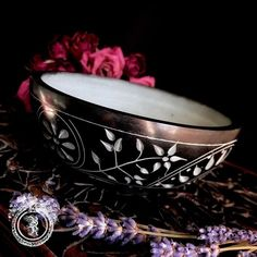 WITCHES' RITUAL OFFERING BOWL - BLACK FLORAL STONE SMUDGE BOWL - INCENSE BURNER - ALTAR DECOR