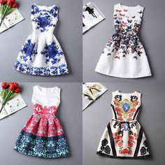 2015 Hot Summer Vintage Print Dress Women Fashion Evening Party Print Dress