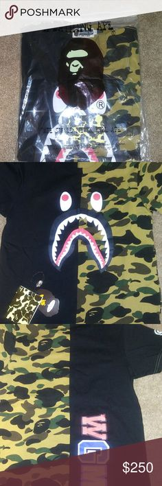 422173260 Authentic bape shirt black and camo Bape shirt camo and black bathing ape  Shirts Tees - Short Sleeve