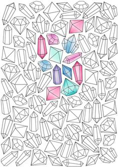 Adult coloring page Art Lessons, Bullet Journal Ideas Pages, Bullet Journal Doodles, Crystal Drawing, Sketch Book, Gems Art, Book Of Shadows, Art Journal, Coloring Pages