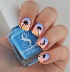 Ombré beach manicure by @naailsbyjulia using our Palm Tree & Dolphin Nail Decals found at snailvinyls.com
