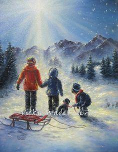Children in snow Original Oil Painting 16X20, three children, snow paintings…