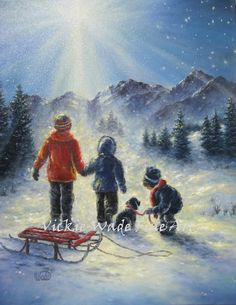Hey, I found this really awesome Etsy listing at https://www.etsy.com/il-en/listing/204323712/children-in-snow-original-oil-painting