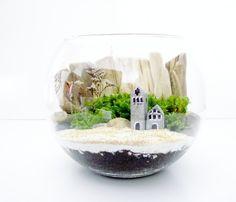 Terrarium with Beach Cottage: Kit & Miniature House. $48.00, via Etsy.