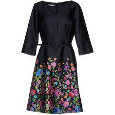 Oscar De La Renta Short Dress ($1,410) ❤ liked on Polyvore featuring dresses, dark blue, silk mini dress, mini dress, dark blue dress, long sleeve dress and long sleeve trapeze dress