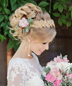 Romantic Braid Headband Updo Wedding Hairstyles 2017