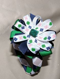Preppy Girls Ribbon Woven Headband with Coordinating, Detachable Bow by AdelaidDesigns on Etsy