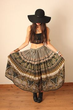 Vintage Green Indian Cotton Gauze Gypsy Skirt by VenusInFursVtg, £24.00