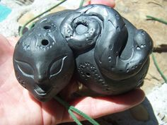 clay ocarina giant pocket pipes Roachworks exclusive double chambered musical instrumentsilver-luster black pottery plays harmony!