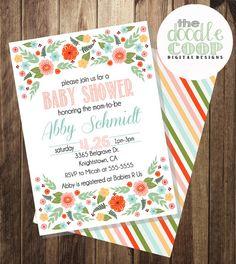 Vintage Floral Baby/Bridal Shower Invite