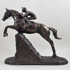 A beautiful and elegant moment is captured in the Steeple Chaser figurine. Made from cold cast bronze and designed by Harriet Glen, this ornament. Horse Sculpture, Bronze Sculpture, Garden Sculpture, Equestrian Gifts, Sculptures, It Cast, Horses, Cold, Statue