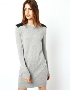Sweater Dress With Leather Look Shoulders