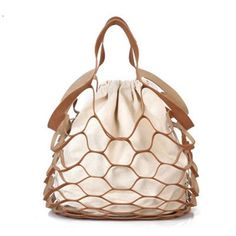 f09e1138fed12 Hollow Out Mesh Design Women Handbags Net Canvas Composite Bag Ladies  Drawstring Tote Famous Brands Casual Beach Bags Summer New
