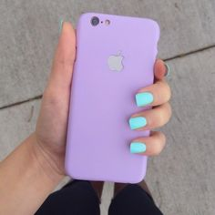 Bright teal nails and light purple phone case