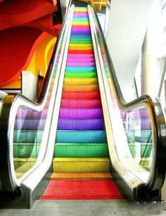The escalator was first patented by Jesse W. Reno on March 15 Later it was redesigned by Charles Seeberger 1897 when he came up with the name 'escalator.' The escalator has helped us today by making going up and down a lot easier than stairs. Love Rainbow, Taste The Rainbow, Over The Rainbow, Rainbow Colors, Rainbow Stuff, Rainbow Things, Rainbow Candy, Bright Colors, Rainbow Pride