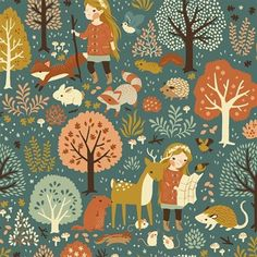 """""""Nature Hike"""" print in the Acorn Trail collection by Birch Organic Fabric."""
