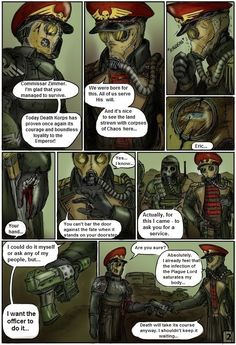 "Warhammer 40000 ""After the battle with Plague Marines"" page 2 (from ""Commissar Raivel"" comics by Gray Skull) (colored by switch900v)"