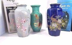 Lot fo 3 Vintage Japan Handcrafted Porcelain Flowers Floral Vase Kyoto Graymist