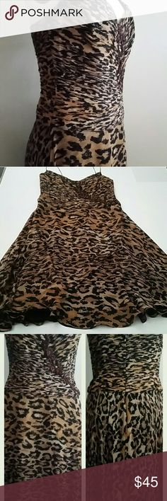 """Assar Silk Chiffon Leopard Dress 8 Ruched bust to low waist with embellished detailing, added free flowing front panel, altered straps moved inward to keep from sliding off shoulder, invisible back zipper, lined, very flattering silhouette. True size 8, armpit to armpit 18"""", shoulder to end of ruching 19"""" and 17"""" across at that point,  waist 15"""", stays at top side seams. Length from shoulder about 41"""". Excellent condition. Assar Dresses Midi"""