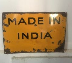 Antique MADE IN INDIA Adv By Dunlop Tyre Porcelain Enamel  Sign Board  #MRF