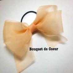 ハンドメイド♡ フェミニンシフォンリボンゴム♡ 全6色♡サーモンオレンジ  http://s.ameblo.jp/bouquet-de-coeur/  Handmade ribbon hair accessory Salmon orange colour