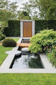 Modern landscaping Awesome 60 Beautiful Backyard Ponds and Water Garden Landscaping Ideas domakeover Modern Landscape Design, Landscape Plans, Modern Landscaping, Backyard Landscaping, Landscaping Ideas, Landscape Architecture, Modern Pond, Modern Backyard, Modern Gardens