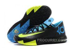 "on sale 18f64 12665 Nike Kevin Durant KD 6 VI ""Away II"" Black Volt-Vivid Blue-Dark Grey For Sale  New"