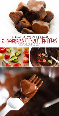 This 2 Ingredient Chocolate Fruit Truffles recipe is a delicious, adaptable, and healthy treat idea that takes just 15 minutes to make! They're gluten-free, sugar-free, and can be vegan-free, making them a healthy dessert recipe perfect for the whole family this Valentine's Day. Valentine's Day recipes have never been more tasty or healthy! // Live Eat Learn