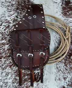 Custom Cavalry Style Leather Saddlebags with Spots Leather Saddle Bags, Leather Holster, Leather Art, Leather Crafts, Cowboy Gear, Cattle Farming, Bike Bag, Round Bag, Saddles