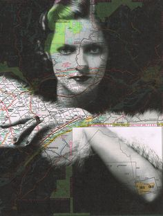 Very interesting kind of map I'm not sure if it is a drawing on the Map or a map printed into a picture. not all the art has to be hand done, consider some digital stuff printed onto unique papers Art Carte, Map Painting, Portraits, Collage Art, Collage Ideas, Mixed Media Art, Art Forms, Vintage Photos, Vintage Photographs