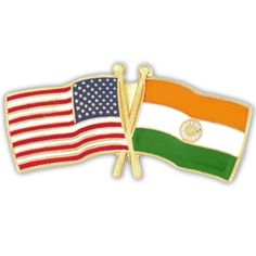 USA and India Crossed Friendship Flag Lapel Pin -- Want additional info? Click on the image.