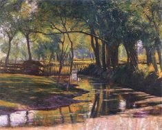 Green Landscape with a Stream by Wladyslaw Podkowinski, 1891 Green Landscape, Landscape Art, Landscape Paintings, French Impressionist Painters, Oil Pastel Art, Old Paintings, Beautiful Artwork, Painting Inspiration, Art Sketches