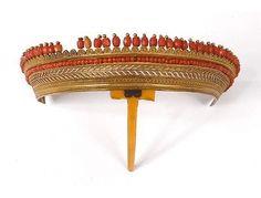 Couronne diadème tiare métal doré perles corail palmettes Empire XIXème in Art, antiquités, Objets du XIXème, et avant | eBay