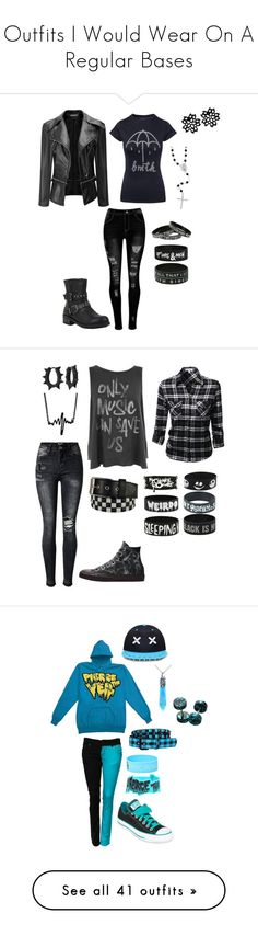 """""""Outfits I Would Wear On A Regular Bases"""" by alexandria-wolf-palayeroyale ❤ liked on Polyvore featuring Sterling Essentials, Hot Topic, Junk Food Clothing, Converse, Disney, West Coast Jewelry, Lowlife, Polaroid, MANGO and BP."""