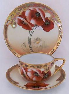 Pickard Poppy and Daisy Cup Saucer Plate by Osborne Art Studio Vintage Cups, Vintage Tea, Cup And Saucer Set, Tea Cup Saucer, Teapots And Cups, Teacups, Café Chocolate, Tea Art, China Tea Cups