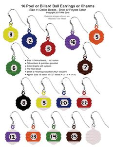 16 Pool or Billiard Ball Earrings or Charms, Sova Enterprises Melty Bead Patterns, Seed Bead Patterns, Beading Patterns, Diy Jewelry Tutorials, Beading Tutorials, Bead Embroidery Jewelry, Beaded Embroidery, Peyote Stitch Patterns, Beaded Earrings Patterns