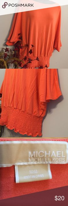 "Flowy Top Michael Kors Beautiful excellent preloved top! Flowy medium that will fit a smaller frame large. Across bust 26"". Gathered elastic waist! Soft rayon spandex blend MICHAEL Michael Kors Tops Blouses"