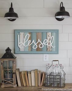 Reclaimed wood turquoise blessed sign by start at home decor | farmhouse decor | chippy | Barn Wood