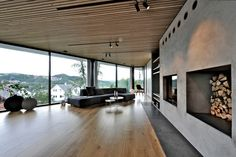 The Himmelkutter weekend house sits on a steep slope in the mountainous city of Sandnes, Norway and was designed by Tommie Wilhelmsen. The unusually shaped