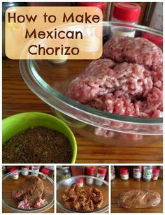 to Make Mexican Chorizo: A tutorial that shows you how to turn ground pork into chorizo with some fairly common spices.How to Make Mexican Chorizo: A tutorial that shows you how to turn ground pork into chorizo with some fairly common spices. Homemade Chorizo, Homemade Sausage Recipes, Chorizo Recipes, Pork Recipes, Paleo Recipes, Mexican Food Recipes, New Recipes, Cooking Recipes, Favorite Recipes