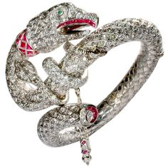 The Gypsy Rose Lee Diamond and Ruby Serpent Bracelet at 1stdibs