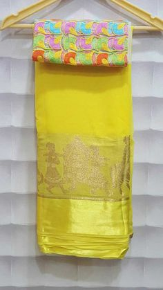 Pure georgette sarees with designer blouse Silk Saree Banarasi, Shibori Sarees, Pure Georgette Sarees, Indian Silk Sarees, Simple Sarees, Trendy Sarees, Stylish Sarees, Fancy Sarees, Cute Asian Fashion