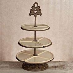 Baroque 3- Tier Serving Stand with Cream Ceramic Plates by the GG Collection