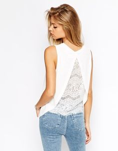 ASOS Sleeveless Top in Crepe with Split Back and Lace Insert