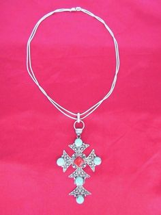STERLING SILVER .925,HAND CRAFTED,BIG CROSS/PENDANT,GENUINE CORAL AND TURQUOISE  | eBay