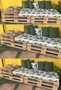 Pallet Garden Furniture, Diy Furniture Projects, Furniture Storage, Easy Projects, Pallets Garden, Furniture Makeover, Furniture Design, Repurposed Furniture, Furniture Plans
