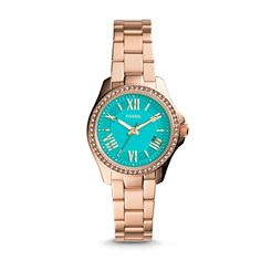 Fossil Cecile Small Three-Hand Stainless Steel Watch - Rose -- THIS. This is what I want for my birthday.