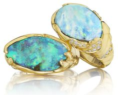 Mimi So ZoZo opal collection gold, diamond, and opal rings. Via Diamonds in the Library.