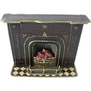 Antique doll house miniature metal Marklin fireplace